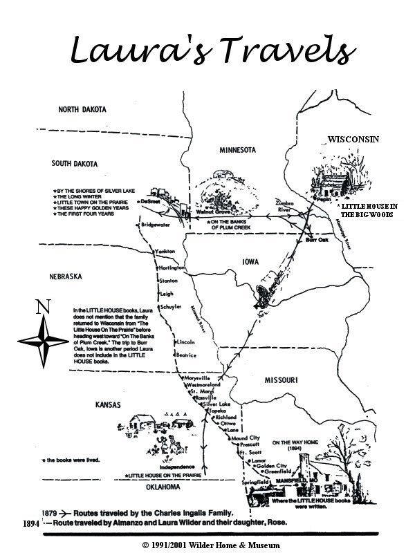 Poster Lauras Travel Map Laura Ingalls Wilder Historic Home Museum - Map of where i traveled