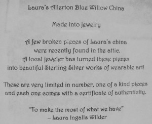 Laura's Blue Willow sign 2