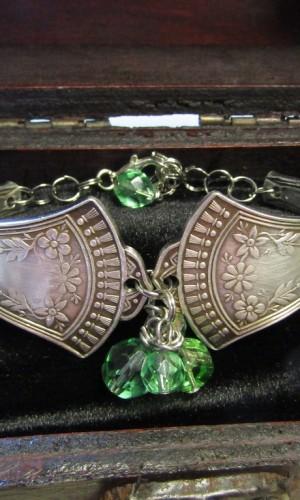 silverware bracelet two piece lime green