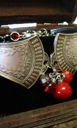 silverware bracelet two piece red