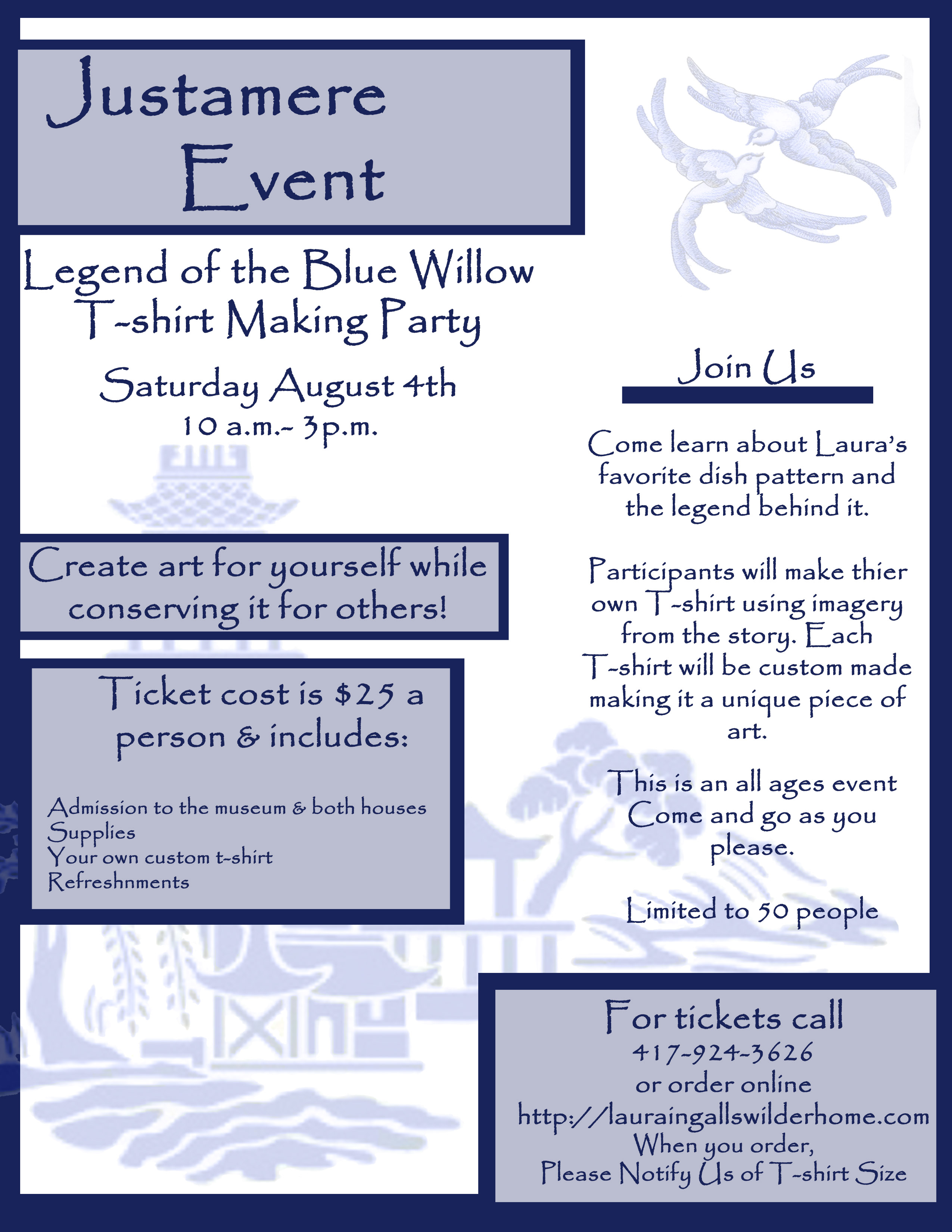 justamere event legend of the blue willow t shirt making party